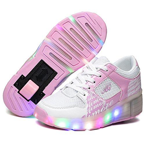 HUSK'SWARE Led Flashing Enfant Kinderschuhe Jungen Mädchen Roller Skate Schuhe Turnschuhe Mit Rollen Weihnachten Kinder Automatischen Wheels Sportschuhe Schuhe 876/Rose