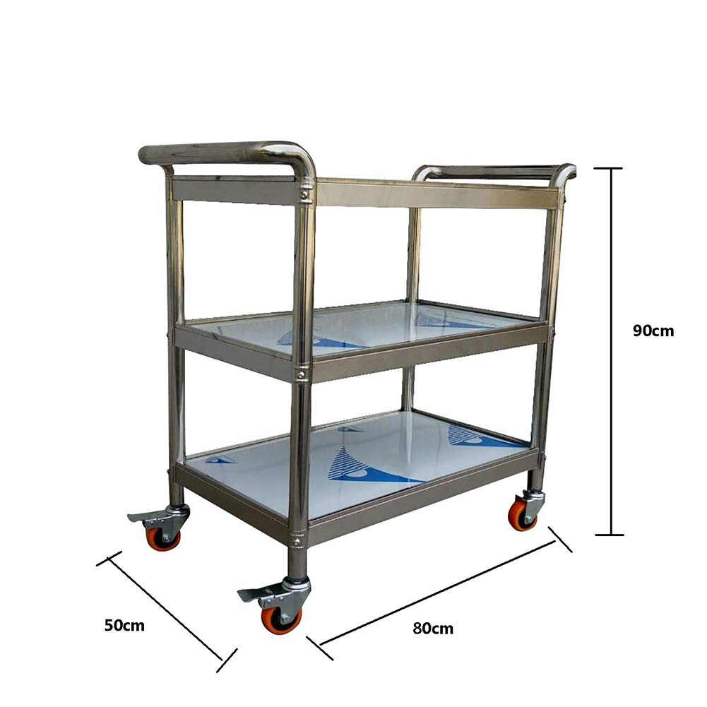 Kitchen Trolley, Stainless Steel Three-Story Hotel Meal Wheel Mute, Assembled Household Rack Storage Cabinet to Put A Variety of Things by Kitchen Cart (Image #2)