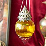 HANGING BRASS YELLOW MELON T-LIGHT HOLDER HAND CUT INDIAN DECORATIVE WEDDING GIFT CRYSTAL GLASS VINTAGE EUROPEAN DESIGN
