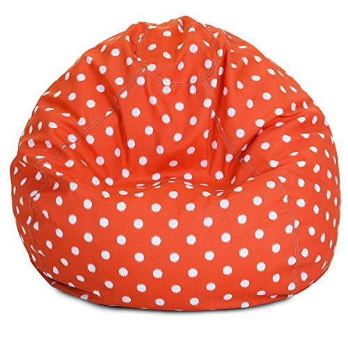 Majestic Home Goods Classic Bean Bag Chair - Ikat Dots Giant Classic Bean Bags for Small Adults and Kids (28 x 28 x 22 Inches) (Orange) - Dot Patio Furniture