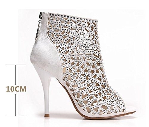 white Dress High Party Back Stiletto Sandal velveteen Women's Heels Crystal Cutouts Zipper Boots Sparkle gw7FAz