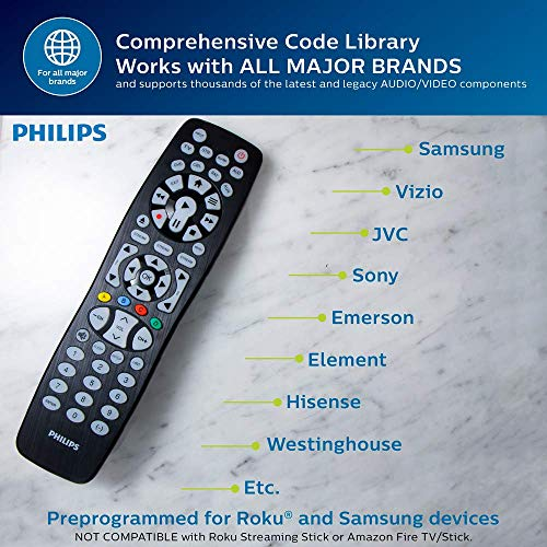 Philips Universal Remote Control, Backlit, For Samsung, Vizio, LG, Sony,  Sharp, Roku, Apple TV, RCA, Panasonic, Smart TVs, Streaming Players,  Blu-Ray,