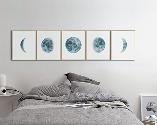 Phases Watercolor Prints Bedroom Indigo product image