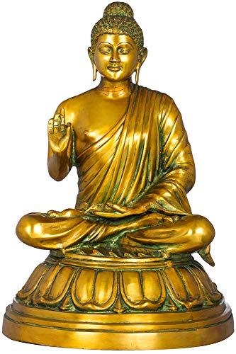 Exotic India The Preaching Buddha - Tibetan Buddhist - Brass Statue - Color Alluring Greenish Gold Color
