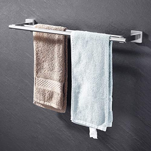 KES Towel Bar Towel Holder with Double Rod 23 Inch Brushed SUS 304 Stainless Steel Wall Mount Bathroom Shelf Rack Contemporary Style, A2201-2 ()