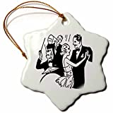 3dRose Image of Retro Couples Dancing to a Band Snowflake Ornament, 3''