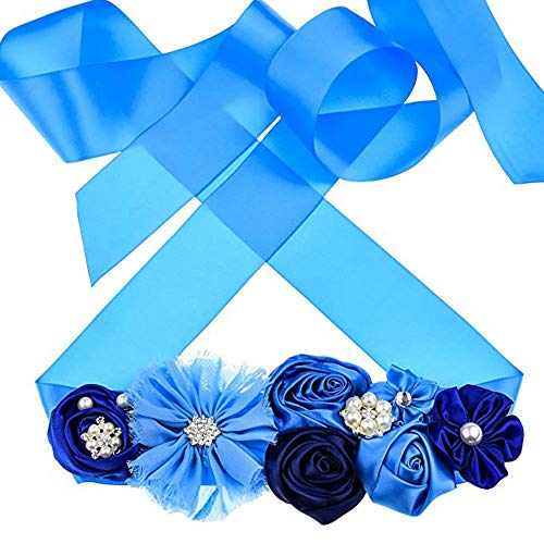 - Maternity Sash Belt with Flower Bridal Rhinestone Belt for Women Wedding,Pregnant Baby Shower Party Photoshoot (Royal Blue)
