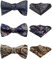 HISDERN 3pcs Mixed Design Classic Men's Self-Tie Bow tie & Pocket Square - Multi