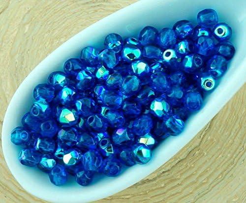 50 Cobalt Blue Czech Firepolish Faceted Round Glass Beads 3mm