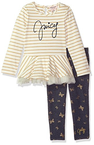 Juicy Couture Girls' Big 2 Pieces Long Sleeves Tunic Set, Vanilla/Navy, ()