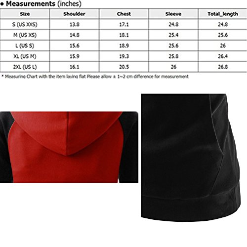 Zhhlinyuan Mujeres Fashion Splicing Hoodies Sweatshirt Long Sleeves Sweater Pullover Coats Casual Black&red