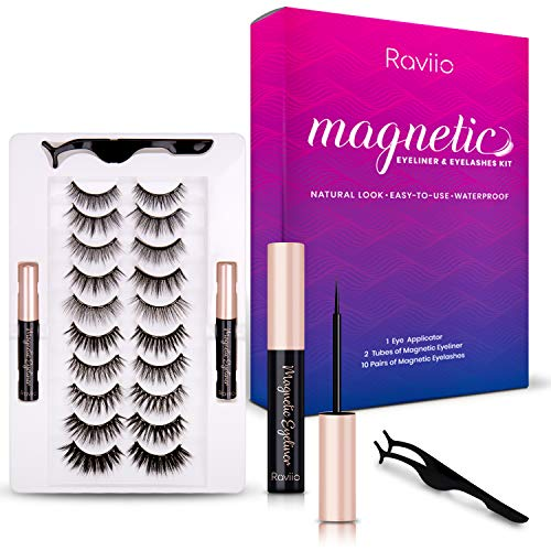 Raviio Magnetic Eyelashes With Eyeliner Kit, 3D 6D 10 Pairs Natural Look Eyelashes, No Glue Needed Magnetic Eyelashes…