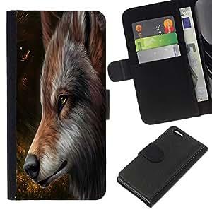 // PHONE CASE GIFT // Moda Estuche Funda de Cuero Billetera Tarjeta de crédito dinero bolsa Cubierta de proteccion Caso Apple Iphone 5C / The Majestic Brown Red Wolf /