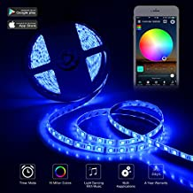 LED Strip Light, Wifi Wireless Smartphone Controlled Light Strip With UL Listed Adapter, 5m/16.4ft RGBW 300-LED SMD 5050, IP65 Waterproof, Work with Alexa, Remote Control via Android/IOS Smartphone