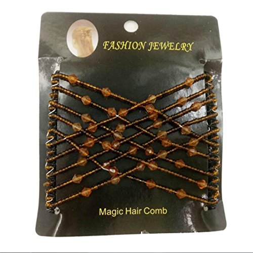 Ulike2 Easy Comb Ez Magic Comb Stretchy Beaded Hair Comb in Black Beads with Pearl - 69 Black Pics