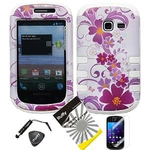 Cerhinu 4 items Combo: ITUFFY LCD Screen Protector Film + Mini Stylus Pen + Case Opener + White Purple Hawaiian Daisy...