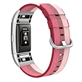 """Swees For Fitbit Charge 2 Bands Nylon, Woven Nylon Breathable Sport Strap Small Large Bands (5.3"""" - 8.2"""") Women Men, Berry, Pollen, Red, Pink, Orange"""