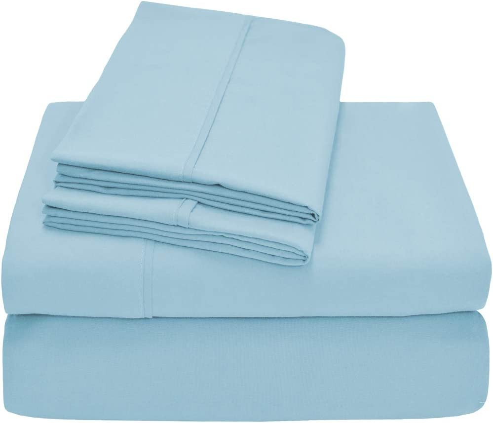 Bare Home 4 Piece 1800 Collection Deep Pocket Bed Sheet Set - Twin Extra Long - Ultra-Soft Hypoallergenic - 1 Extra Pillow Case (Twin XL, Light Blue)