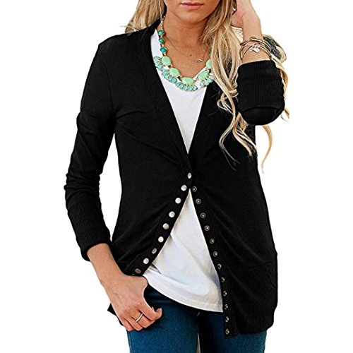 iTLOTL Women's Business V-neck Metal Buttons Thicken Sweater Solid Color Long Sleeve(Black ,US-6/CN-M) by iTLOTL (Image #7)