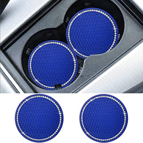 SUNACCL Universal Vehicle Bling Travel Auto Cup Holder Insert Coasters Crystal Rhinestone Car Interior Accessories Durable Anti Slip Silicone Car Coasters (Pack of 2) (Blue-A)
