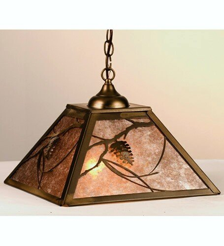 2 Light Pinecone Pendant (Meyda Tiffany Custom Lighting 76316 Whispering Pines 2-Light Pendant, Antique Copper Finish with Silver Mica Panels)
