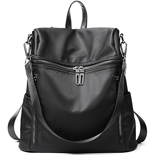 Women Backpack Purse Lightweight Fashion Nylon Ladies Handbag School  Shoulder Bag Waterproof Travel Rucksack Black by 4b34290f8e702
