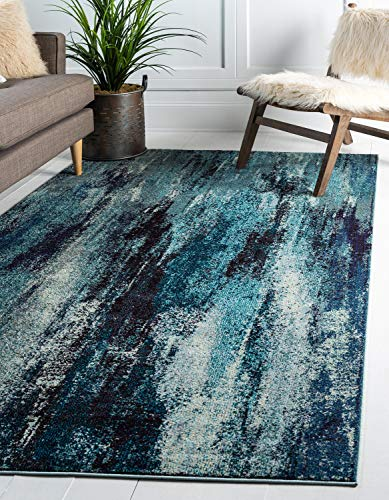 Unique Loom Jardin Collection Vibrant Abstract Blue Area Rug (10 0 x 13 0)