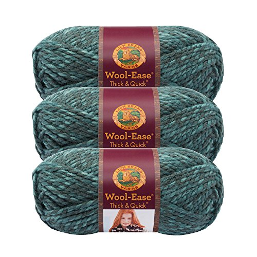 (3 Pack) Lion Brand Yarn 640-526 Wool-Ease Thick and Quick Yarn, 97 Meters, Blueberry