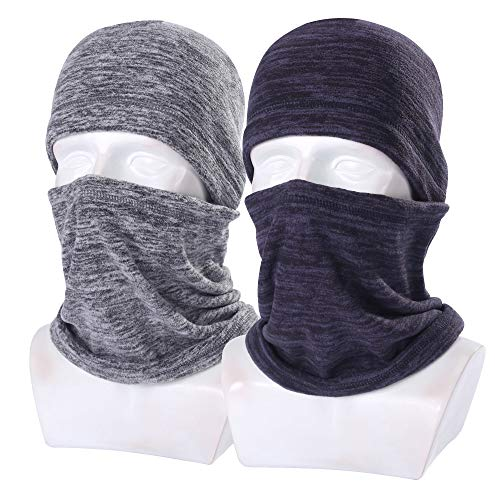 NANSI 2 Pack - Thick Fleece Balaclava Neck Warmer Hood Cover Face Mask for Ski Snowboard Winter Gear - Gray and Royal Blue