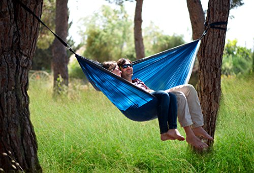 Rip Resistant Parachute Camping Hammock With 2 Tree Straps Included. Single Person Or Double. Ultralight Nylon. Portable & Compact. Best for Hiking, Backpacking, Trek & Travel. Special Compression Bag