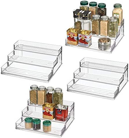 mDesign Plastic Spice and Food Kitchen Cabinet Shelf Organizer – 3 Tier Storage – Modern Compact Caddy Rack – Holds Spices Herb Bottles, Jars – for Shelves, Cupboards, Refrigerator – 4 Pack – Clear