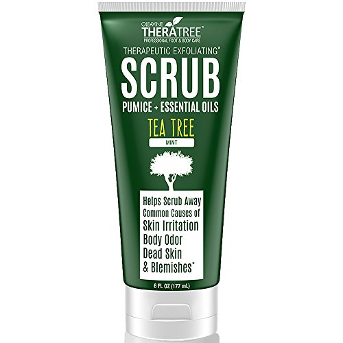 Tea Tree Oil Exfoliating Scrub with Activated Charcoal, Neem Oil & Natural Pumice by Oleavine TheraTree