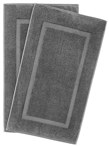 900 GSM Machine Washable 21x34 Inches 2-Pack Banded Bath Mats, Luxury Hotel and Spa Quality, 100% Ring Spun Genuine Cotton, Maximum Softness and Absorbency by United Home Textile, Charcoal Grey by Cotton Paradise