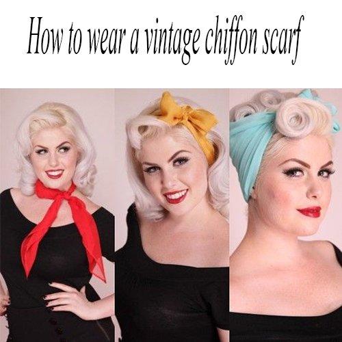 MissShorthair 50s Chiffon Scarf Sheer Square Neck Head Scarfs for Women (One Size, Black+Black dot) by MissShorthair (Image #4)