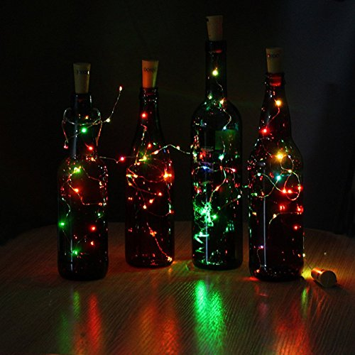 JOJOO 4Pcs Color Changing RGB Wine Bottle Cork Copper Lights - 32inch/ 80cm 15 LED Wire String Lights for Bottle DIY, Party, Decor, Christmas, Halloween, Wedding or Mood Lights LT015C4