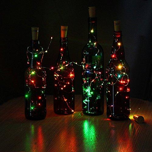 JOJOO 6Pcs Color Changing RGB Wine Bottle Cork Copper Lights - 32inch/ 80cm 15 LED Wire String Lights for Bottle DIY, Party, Decor, Christmas, Halloween, Wedding or Mood Lights LT015C6