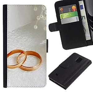 ZONECELL Imagen Frontal Negro Cuero Tarjeta Ranura Trasera Funda Carcasa Diseño Tapa Cover Skin Protectora Case Para Samsung Galaxy Note 4 SM-N910 - anillo de pareja