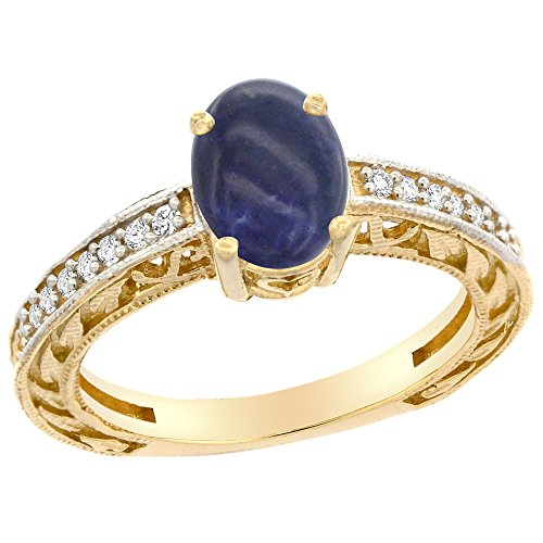 14K Yellow Gold Natural Lapis Ring Oval 8x6 mm Diamond Accents, size 10 14k Yellow Gold Lapis Ring