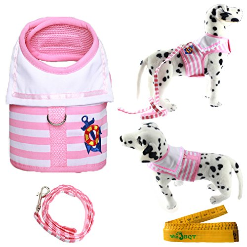 Pink Striped Dog Sweater (Wiz BBQT Pink and White Navy Striped Sailor Anchor Style Pet Dog Harness and Leash Set for Walking Party (Medium))