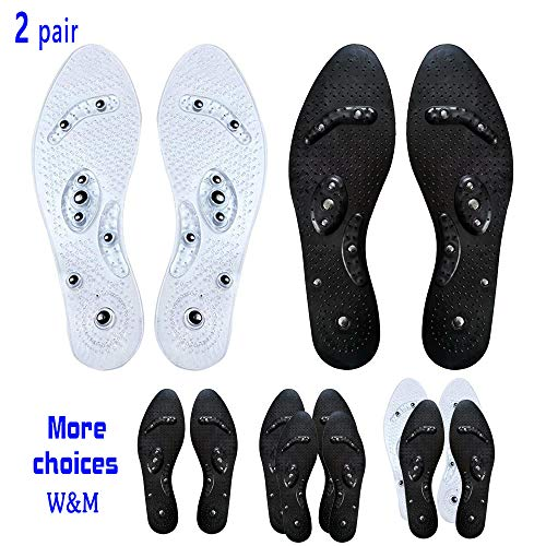 (Foot Acupressure Magnetic Massaging Insoles - Massage Insoles Reflexology Plantar Fasciitis Pain Relief Breathable Deodorant Comfort Bamboo Charcoal Silicone Insoles for Men and Women)