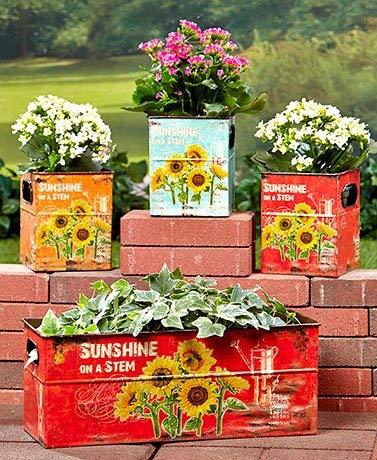 Set of 4 Sunflower Box Planter Flower Pot Plant Holder Decor Garden Yard Decoration by KNL Store