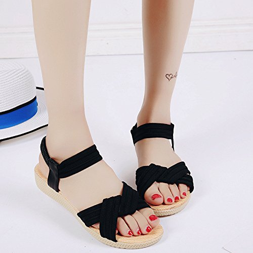 Stripes Casual Women'S blue Flat WHLShoes Students' Belts Sandals Wild Sandals Mom'S Xia Ping Bottom Casual Bottom Comfort And Female Soft 1gxO6g