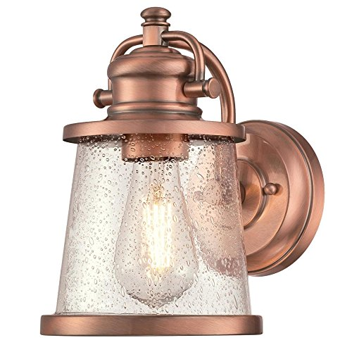 Copper Outdoor Wall Light - Westinghouse Lighting 6361000 Emma Jane One-Light, Washed Copper Finish with Clear Seeded Glass OUTDOOR WALL Fixture,