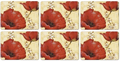 Pimpernel Poppies - Pimpernel Poppy De Villeneuve Placemats - Set of 6