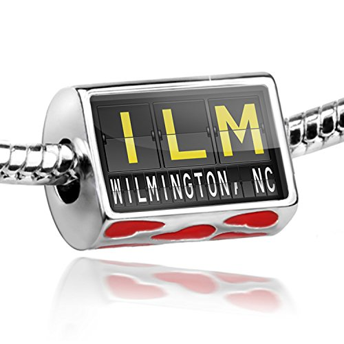 Bead with Hearts ILM Airport Code for Wilmington, NC - Charm Fit All European - Nc B And B Wilmington