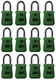 Rainbow Lockboxes (12 Pack) Real Estate Key Storage Lock Box with Set Your Own Combination, Dark Green - Choice of Colors
