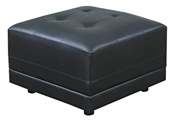 Fine Poundex F6564 Tufted Seat Square Ottoman In Black Bonded Leather Forskolin Free Trial Chair Design Images Forskolin Free Trialorg