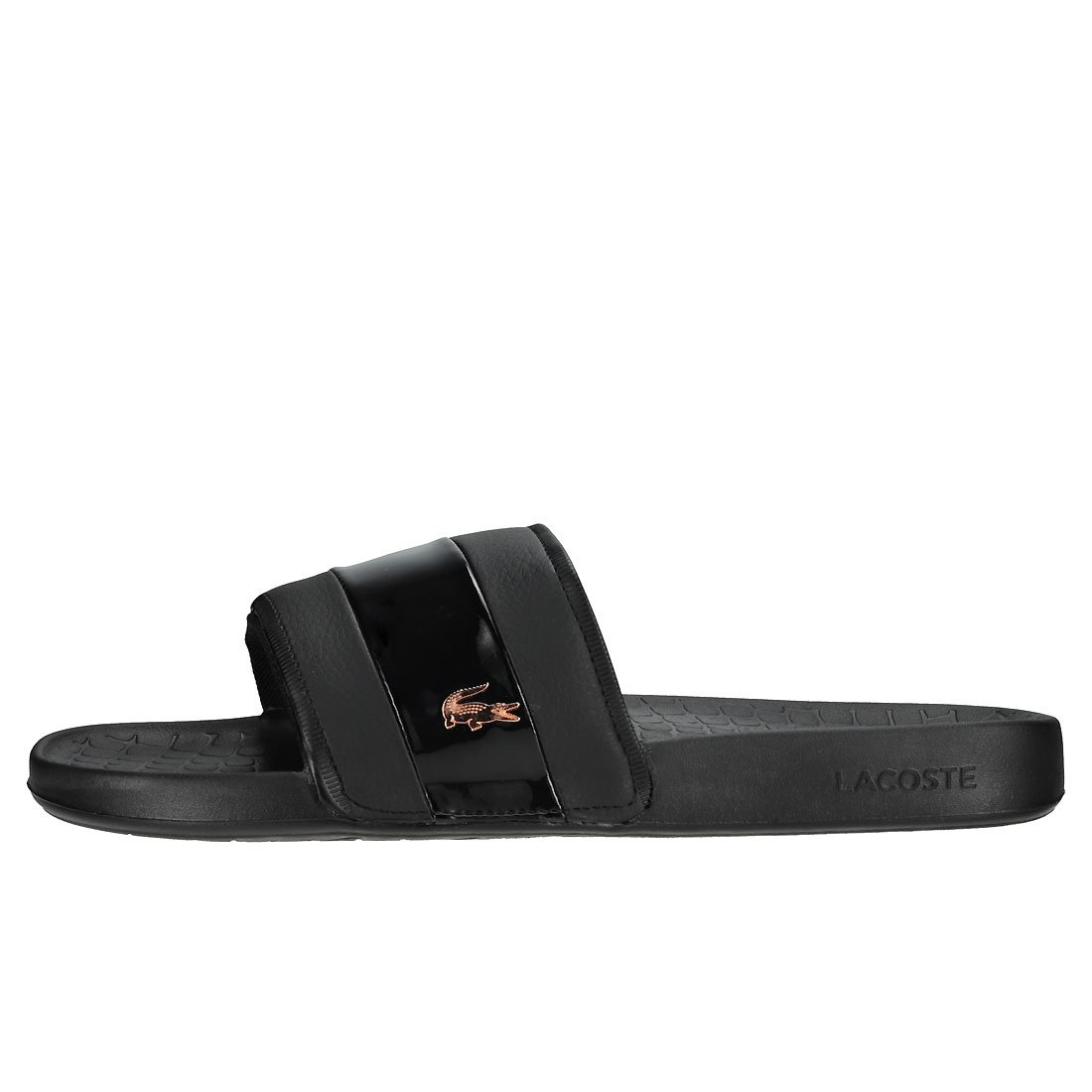 36ee725c4dfcfc Lacoste Fraisier 118 2 U Slide Pool Beach Deluxe Sandals in Black   Rose  Gold 735CAW0090 1J1  Amazon.co.uk  Shoes   Bags