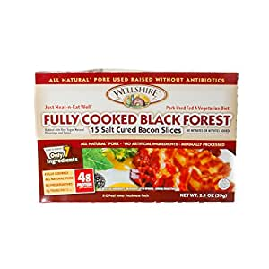 Wellshire Farms, Pork Bacon Black Forest Cooked Uncured, 2.1 Ounce