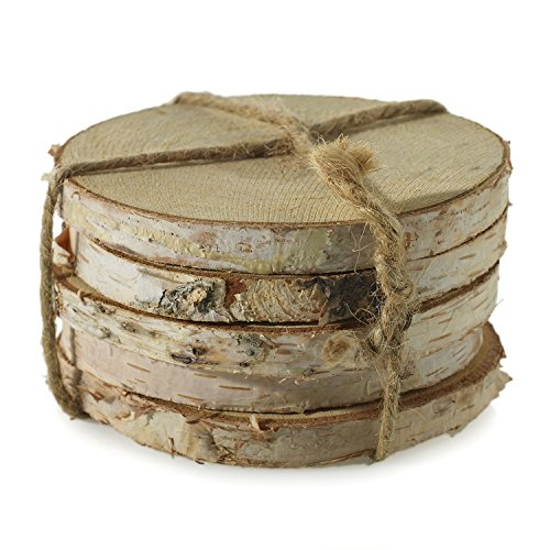 - Wooden Birch Round Coasters - Set of 5 - 4 x 0.5 Inches - Real Wood Discs with Bark - Rustic Table Pieces for Home, Office, or Wedding